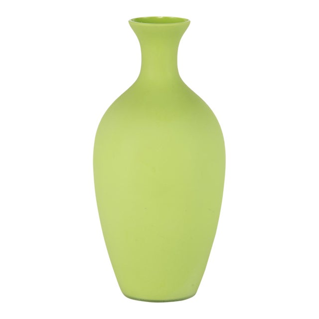 Tall Mid Century Cenedese Murano Glass Green Vase For Sale