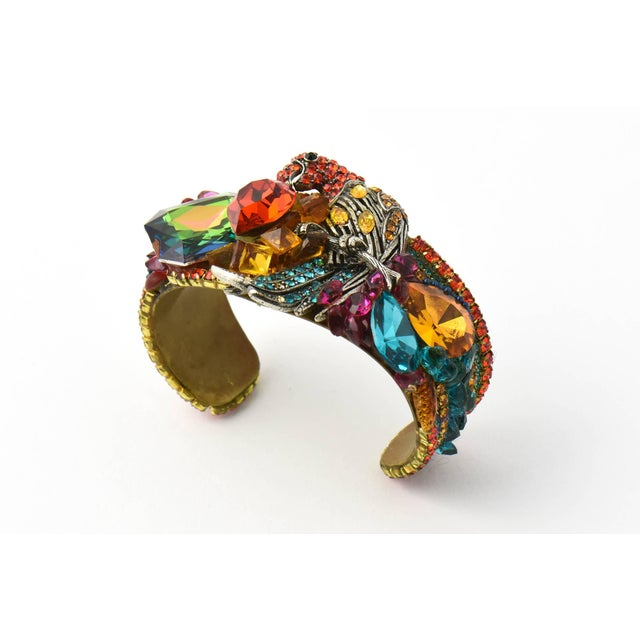 Impressive Wendy Gell Cuff Bracelet handmade by Gell in 1981. This bold, colorful, and gorgeous bracelet features a...