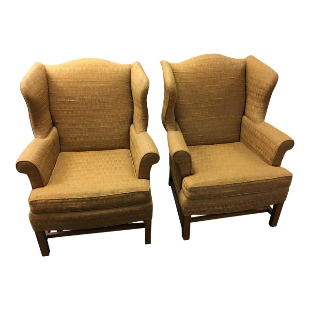 W & J Sloane Wingback Chairs - A Pair For Sale