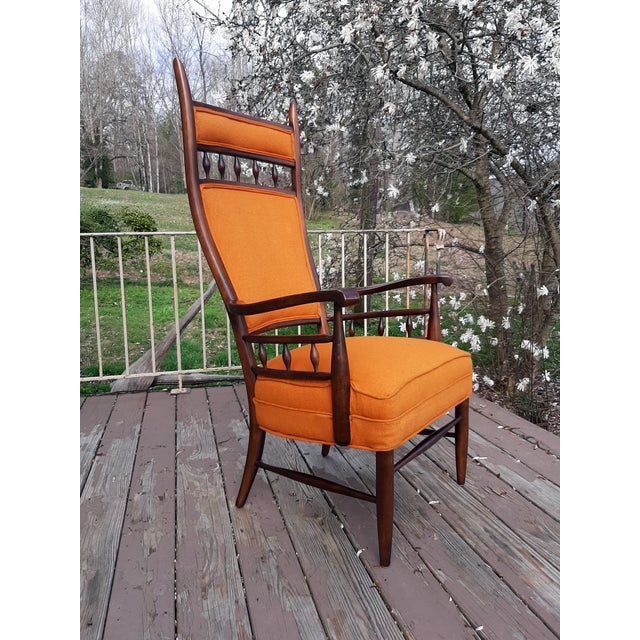 Vintage Mid Century Modern Maxwell Royal for Dunbar High Back Armchair Original Fabric For Sale - Image 13 of 13