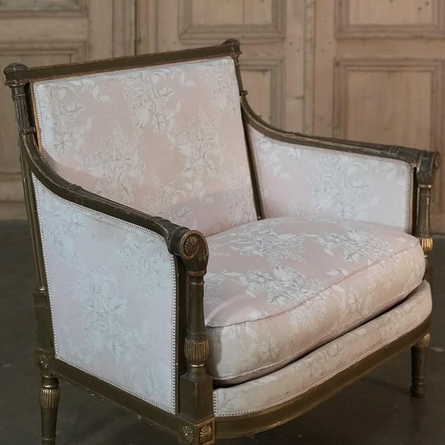 19th Century Italian Gilded Neoclassical Chair & a Half For Sale - Image 4 of 11