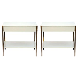 Pair of Minimalist Ivory Lacquer and Brass Nightstands For Sale
