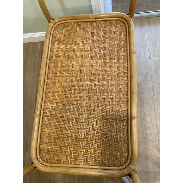 Vintage 1970s Boho Chic Bamboo Rattan Bar Cart For Sale - Image 4 of 10