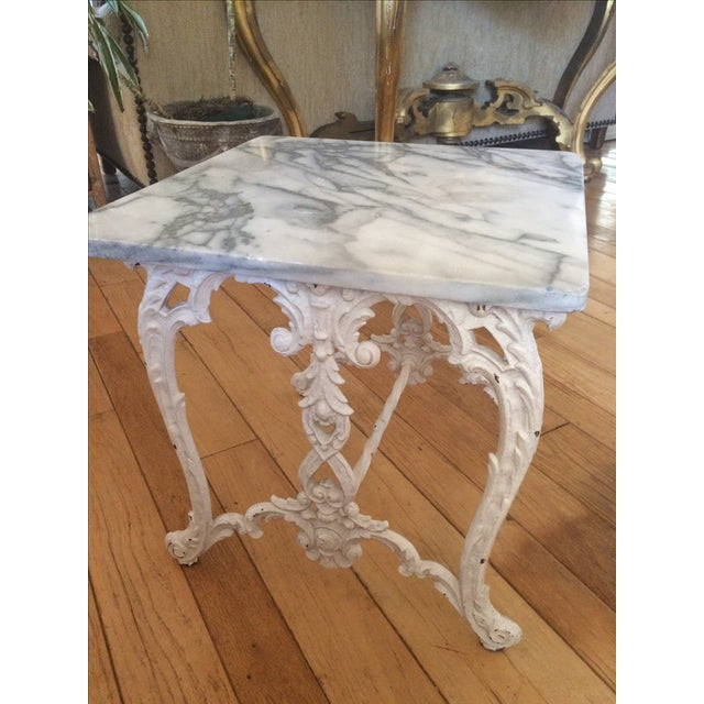 Marble & Cast Iron Side Table - Image 2 of 4
