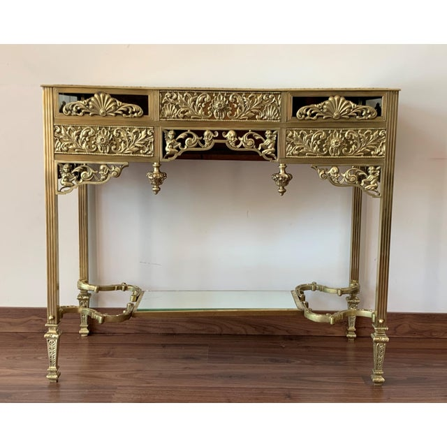 Baroque 19th French Bronze Mirrored Dressing Table or Vanity With Three Drawers For Sale - Image 3 of 12