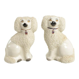 English Old Staffordshire Ware Spaniel Dog Figurine Set of 2 For Sale