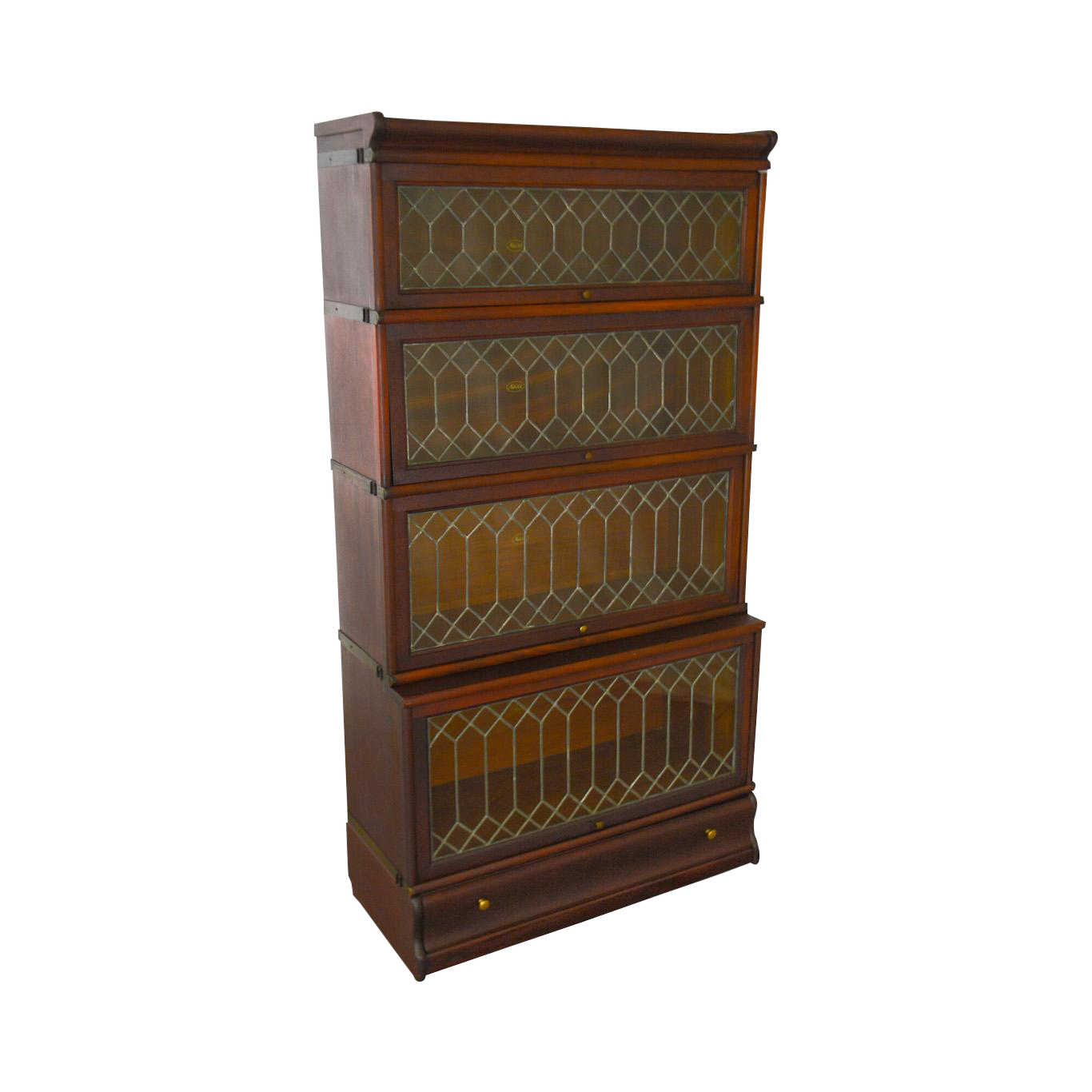 Macey Antique Mahogany Leaded Glass 4 Section Stacking Barrister Bookcase