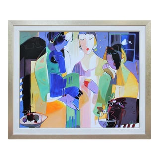 """""""As Night Falls"""" Contemporary Colorful Abstract Figurative Contour Line Painting by Ali Golkar, Framed For Sale"""