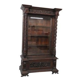 Renaissance Style Hall Seat Display Cabinet For Sale