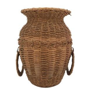 20th Century Boho Chic Penobscot Splint Ash and Sweetgrass Handled Basket/Vase For Sale