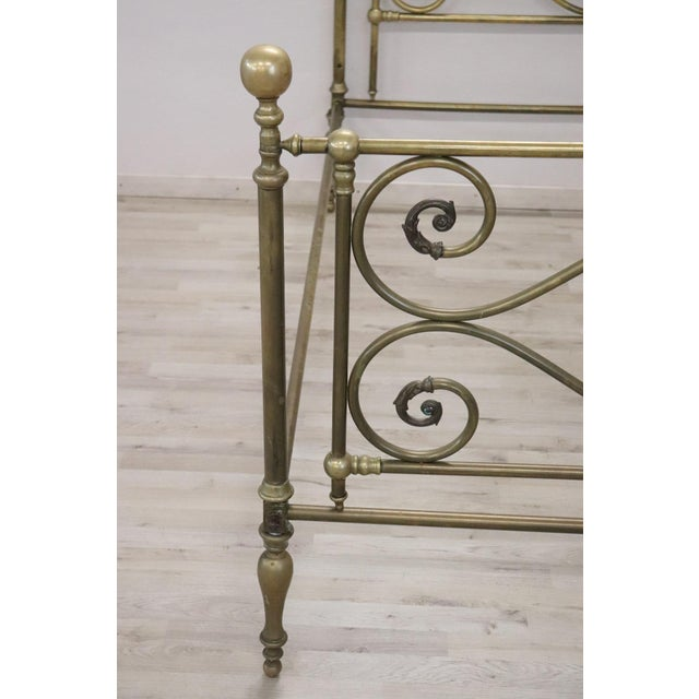 1950s 20th Century Italian All Brass Double Bed For Sale - Image 5 of 13