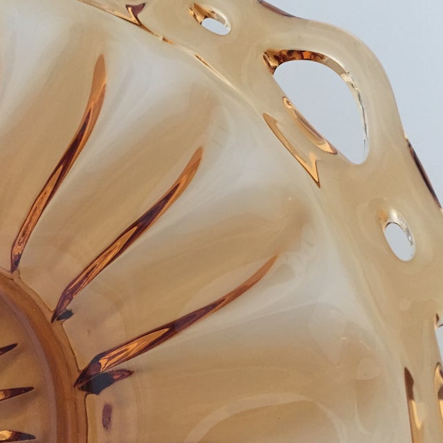 Art Deco Vintage Amber Lace Edge Glass Bowl For Sale - Image 3 of 12