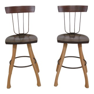 1990s Vintage Bradford Woodworking Pitchfork Custom Bar Stools- A Pair For Sale