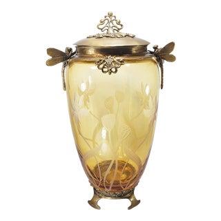 1950s Vintage Castilian Imports Dragonfly Bronze Cut Amber Urn For Sale
