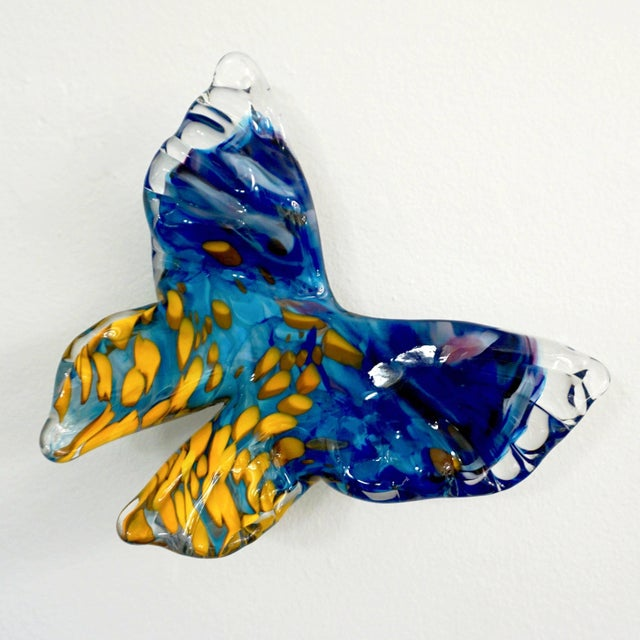 Contemporary Flight of Blue Butterflies Contemporary Blown Glass Wall Art Sculpture For Sale - Image 3 of 11
