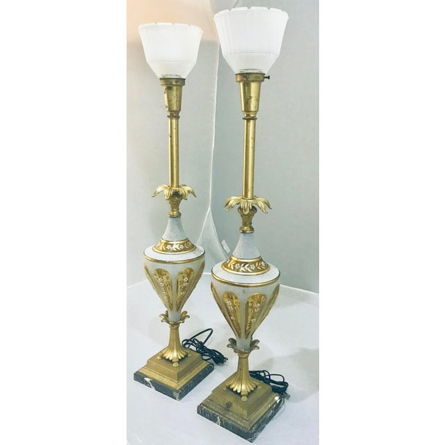1940s Glass & Brass Torchiere Table Lamps - a Pair For Sale - Image 10 of 10