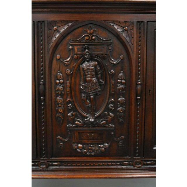 1900 - 1909 Antique Renaissance Revival Figural Carved Walnut Cabinet For Sale - Image 5 of 11