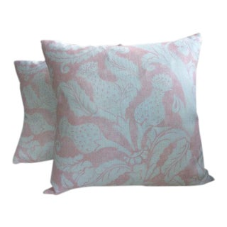 "Mary McDonald for Schumacher ""Villa De Medici"" in Blush Conch Pillows - a Pair For Sale"