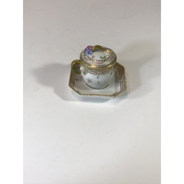 Victorian Royal Copenhagen Flora Danica Demitasse With Lid and Saucer Butter Cup For Sale - Image 3 of 13