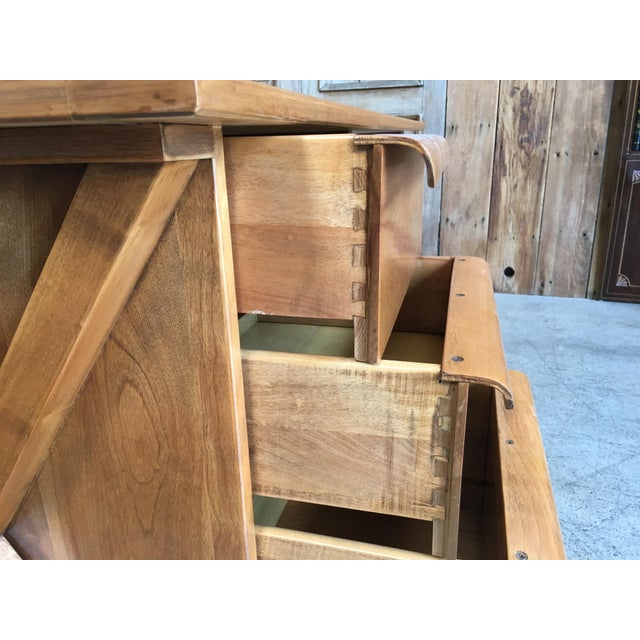 Brown 1950's Maple X-Leg Desk With Bookcase For Sale - Image 8 of 13