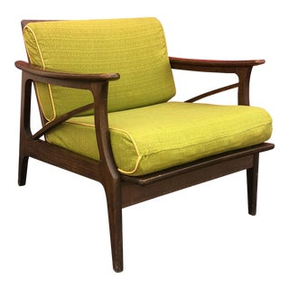 Mid Century Modern Lounge Chair With Vintage Upholstery For Sale