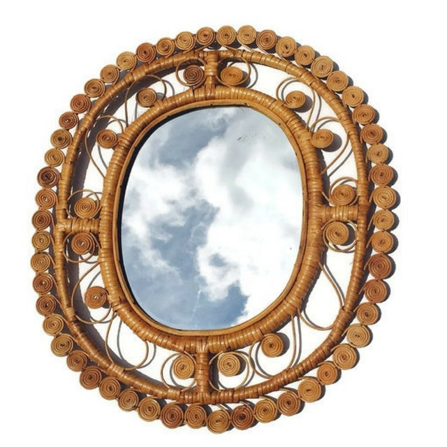 Vintage Rattan & Bamboo Peacock Curl Mirror - Image 6 of 8