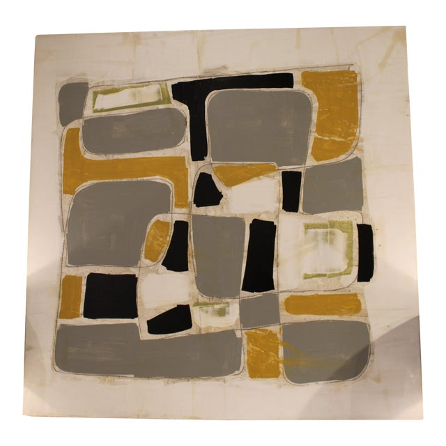Abstract Plaster and Acrylic Painting on Wood by Scott Kerr For Sale