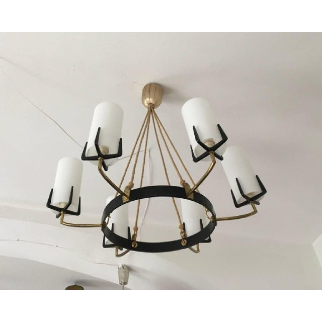 Mid-Century Modern Large Mid-Century Brass & Opaline Chandelier by Rupert Nikoll For Sale - Image 3 of 11