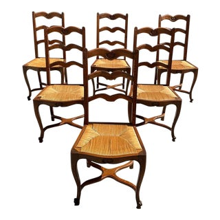 1910s Vintage French Country Provencal Rush Seat Dining Chairs - Set of 6 For Sale