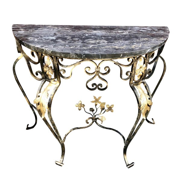 White 1950s Italian Gilt Wrought Iron and Marble Demi Lune Table For Sale - Image 8 of 8