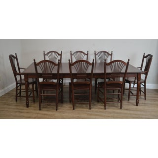 Woxall Woodcraft Solid Cherry Farmhouse Table + 8, Wheatback Chairs Dining Set Preview