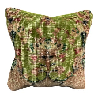 Vintage Turkish Traditional Rug Pillow For Sale