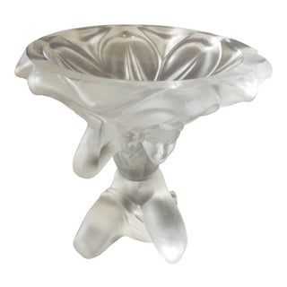 Czech ART GLASS Rene LALIQUE Style Bowl For Sale