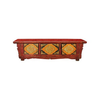 Chinese Vintage Floral Graphic Low Altar Shrine Offer Table For Sale