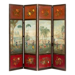 Fine George IV Painted Four Panel Screen Circa 1825 For Sale