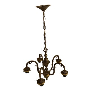 Vintage Cast Brass Five Arm Chandelier