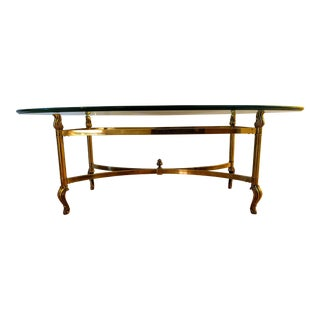 Hollywood Regency La Barge Style Solid Brass and Glass Coffee Table For Sale