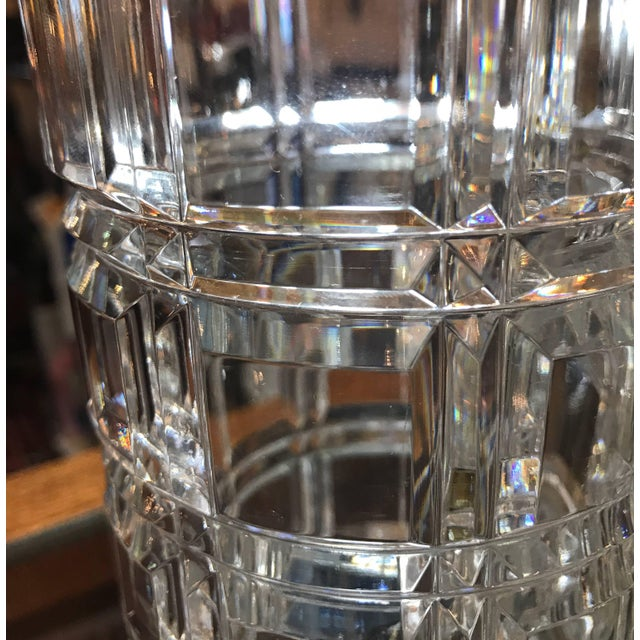 Crystal 1950s Mid-Century Modern Cut Crystal Cylinder Vases - a Pair For Sale - Image 7 of 11