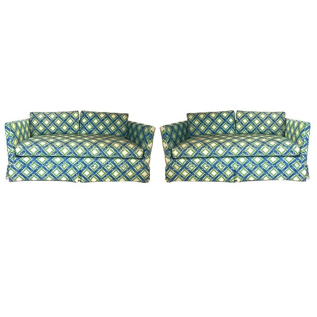Pair of Regency Chinoiserie Tuxedo Settees in Lattice Bamboo Upholstery For Sale - Image 13 of 13