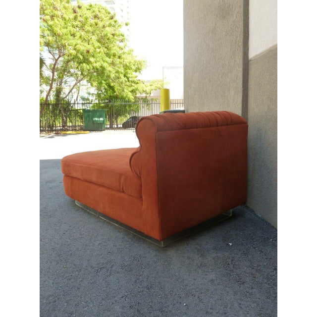 Dolce Vita 70's Italian suede and lucite fainting couch or chaise manner of Vladimir Kagan totally restored with only the...