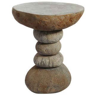 Stacked River Rock Side Table For Sale
