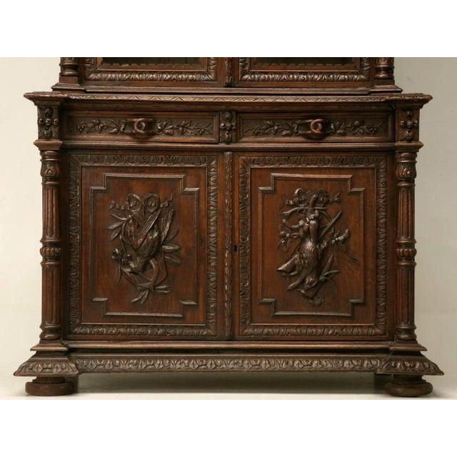 Antique French Carved Oak Hunt Cabinet For Sale - Image 9 of 10