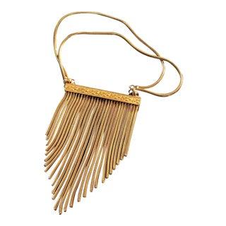 Vintage Gold Bib Multi Chain Dangle Bar Filigree Statement Necklace For Sale