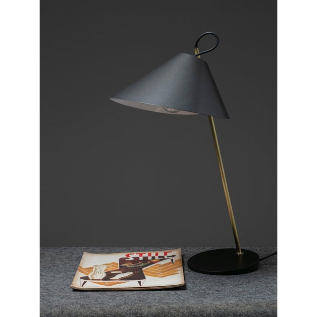"""Gold Pair of """"Base Ghisa"""" Table Lamps by Caccia Dominioni for Azucena For Sale - Image 8 of 9"""