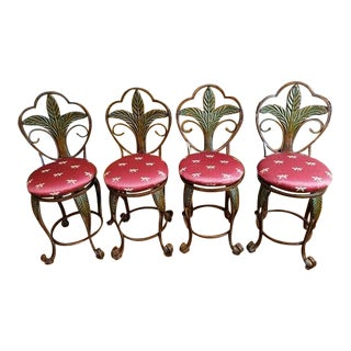 Swivel Rubbed Bronze Indoor Iron Bar Stools with Palm Tree Motif - Set of 4 For Sale