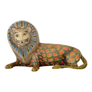 1960s Vintage Folk Art Sermel Paper Mache Lion Sculpture