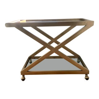 Mid-Century Modern Restoration Hardware Brass Bar Cart For Sale