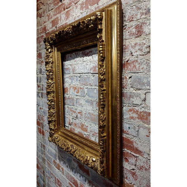 19th Century 19th Century -Highly Carved & Ornate Gilt-Wood Frame For Sale - Image 5 of 7