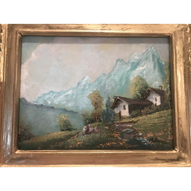 Vintage Mid-Century M. Rosselli Framed Oil on Canvas Landscape Painting For Sale - Image 4 of 11