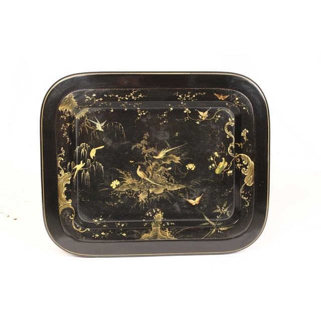 Late 19th Century English Regency Style Paper Mache Tray Table For Sale - Image 5 of 11